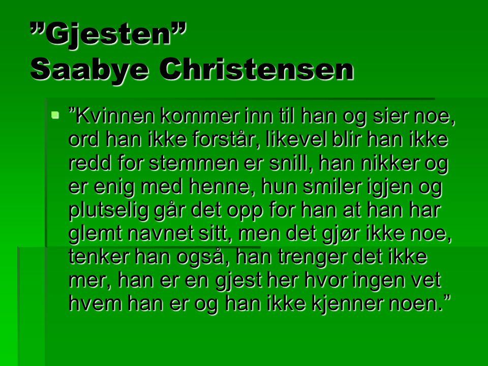 """""""Gjesten"""" Saabye Christensen  """"Kvinnen kommer inn til han og sier noe, ord han ikke forstår, likevel blir han ikke redd for stemmen er snill, han nik"""