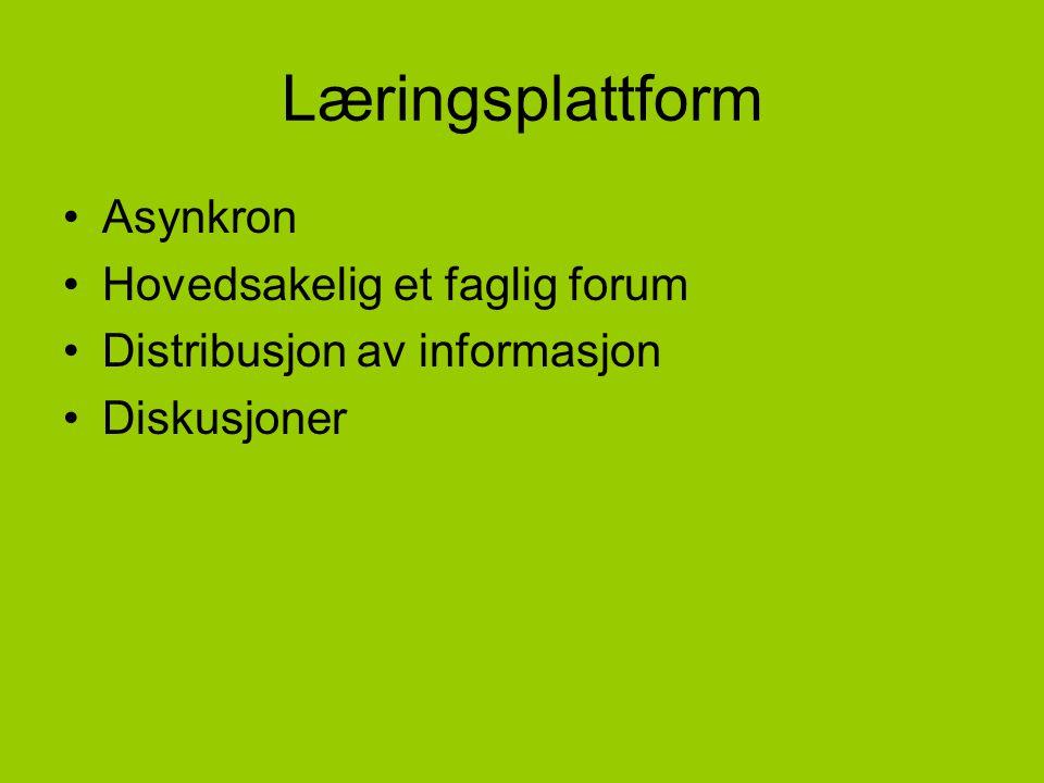 Læringsplattform Asynkron Hovedsakelig et faglig forum Distribusjon av informasjon Diskusjoner