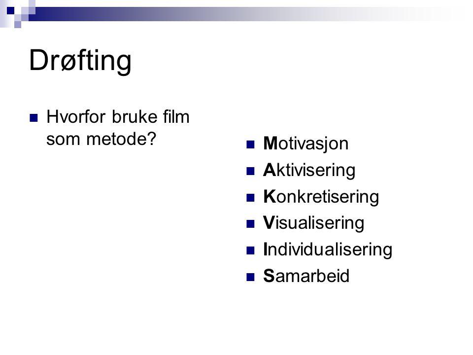 Drøfting Hvorfor bruke film som metode? Motivasjon Aktivisering Konkretisering Visualisering Individualisering Samarbeid