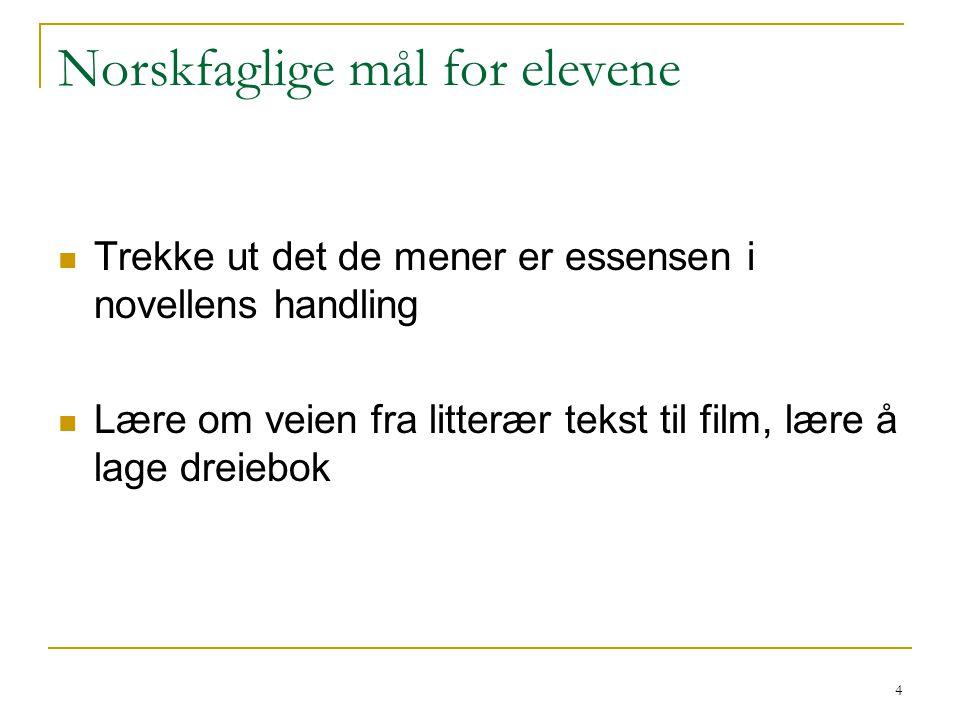 4 Norskfaglige mål for elevene Trekke ut det de mener er essensen i novellens handling Lære om veien fra litterær tekst til film, lære å lage dreiebok