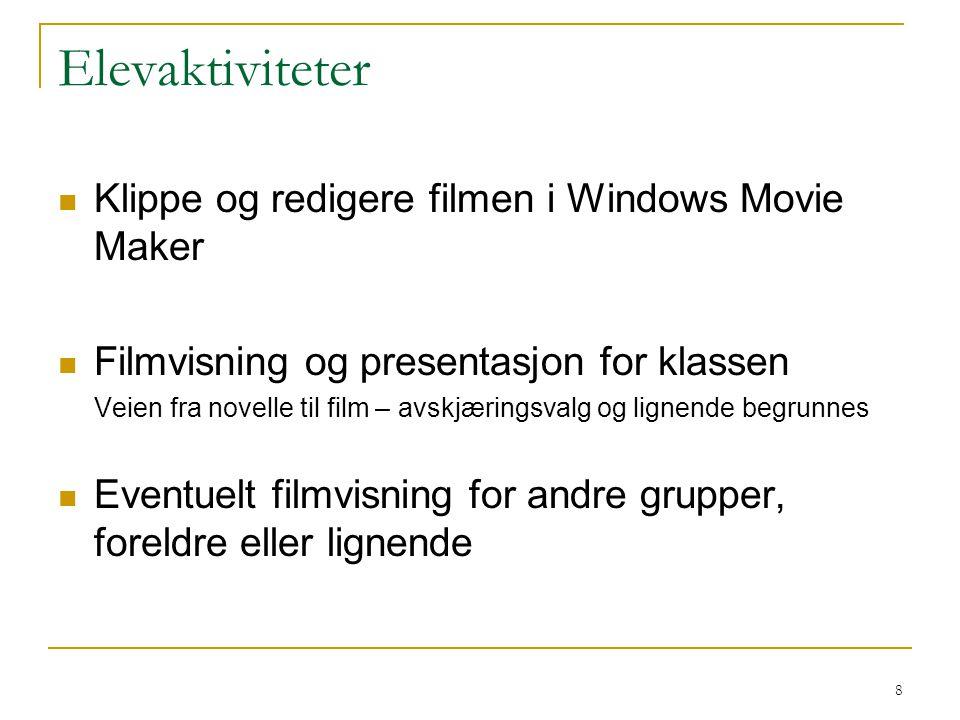 8 Elevaktiviteter Klippe og redigere filmen i Windows Movie Maker Filmvisning og presentasjon for klassen Veien fra novelle til film – avskjæringsvalg