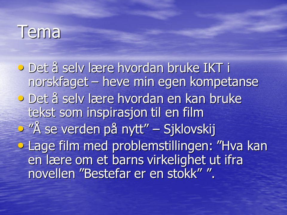 Tema Det å selv lære hvordan bruke IKT i norskfaget – heve min egen kompetanse Det å selv lære hvordan bruke IKT i norskfaget – heve min egen kompetan
