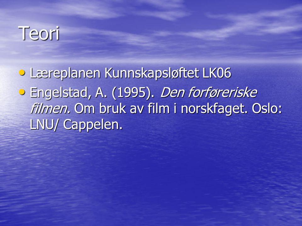 Teori Læreplanen Kunnskapsløftet LK06 Læreplanen Kunnskapsløftet LK06 Engelstad, A. (1995). Den forføreriske filmen. Om bruk av film i norskfaget. Osl