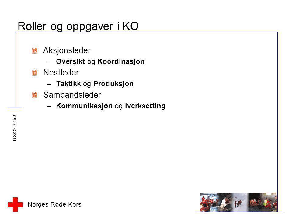 Norges Røde Kors DISKO side 3 Roller og oppgaver i KO Aksjonsleder –Oversikt og Koordinasjon Nestleder –Taktikk og Produksjon Sambandsleder –Kommunika