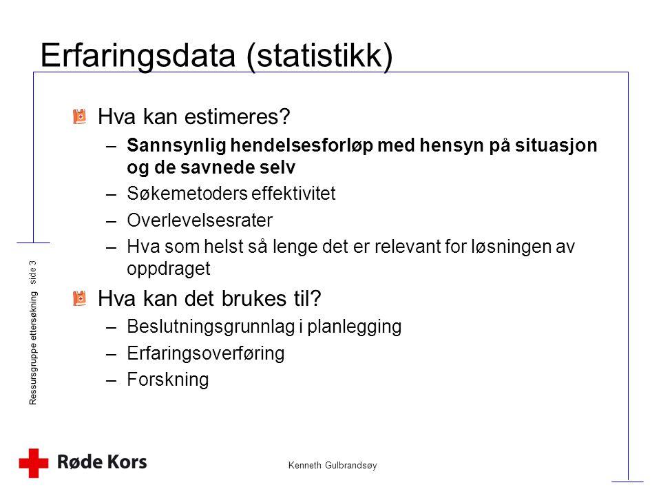 Kenneth Gulbrandsøy Ressursgruppe ettersøkning side 3 Erfaringsdata (statistikk) Hva kan estimeres? –Sannsynlig hendelsesforløp med hensyn på situasjo