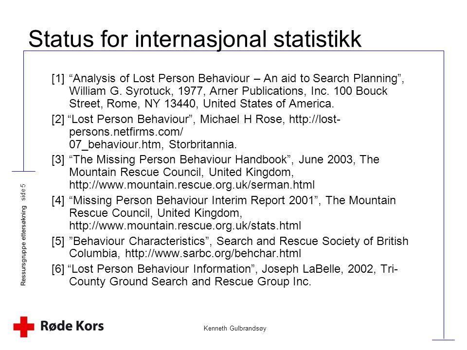 """Kenneth Gulbrandsøy Ressursgruppe ettersøkning side 5 Status for internasjonal statistikk [1]""""Analysis of Lost Person Behaviour – An aid to Search Pla"""