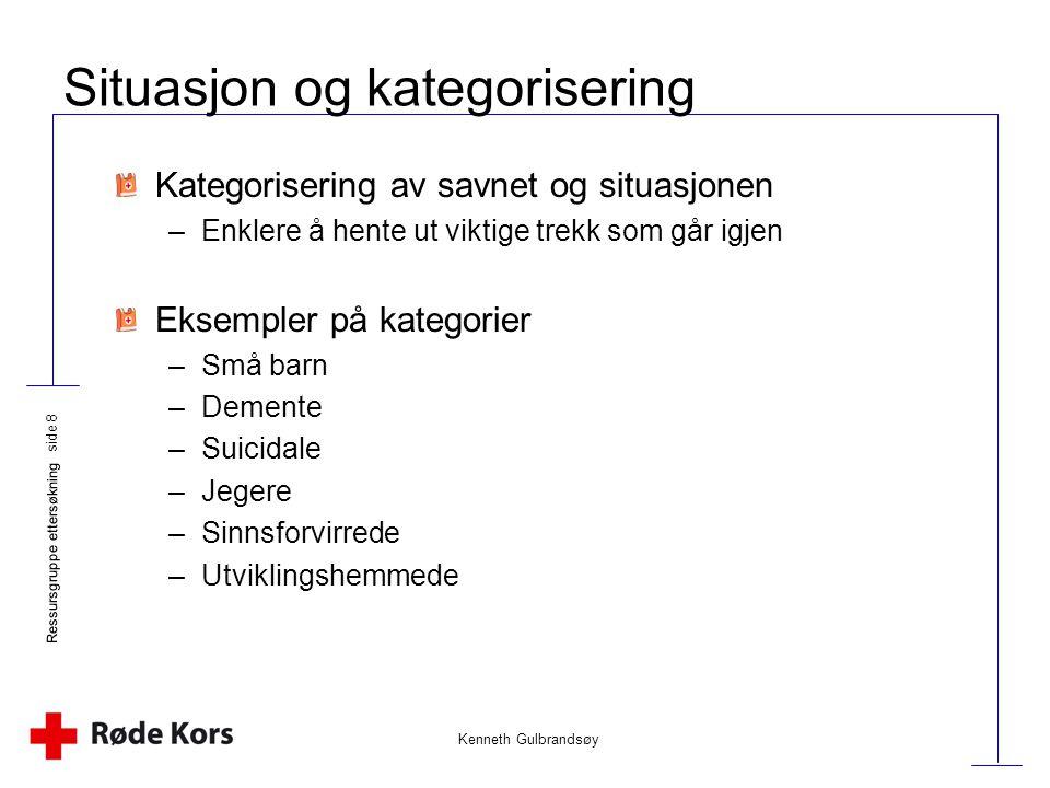 Kenneth Gulbrandsøy Ressursgruppe ettersøkning side 8 Situasjon og kategorisering Kategorisering av savnet og situasjonen –Enklere å hente ut viktige