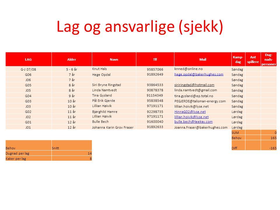 Lag og ansvarlige (sjekk) LAGAlderNavnTlfMail Kamp- dag Ant spillere Dug- nads- personer G-J 07/085 - 6 år Knut Hals 95857066 knned@online.no Søndag G