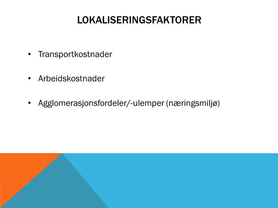 LOKALISERINGSFAKTORER Transportkostnader Arbeidskostnader Agglomerasjonsfordeler/-ulemper (næringsmiljø)
