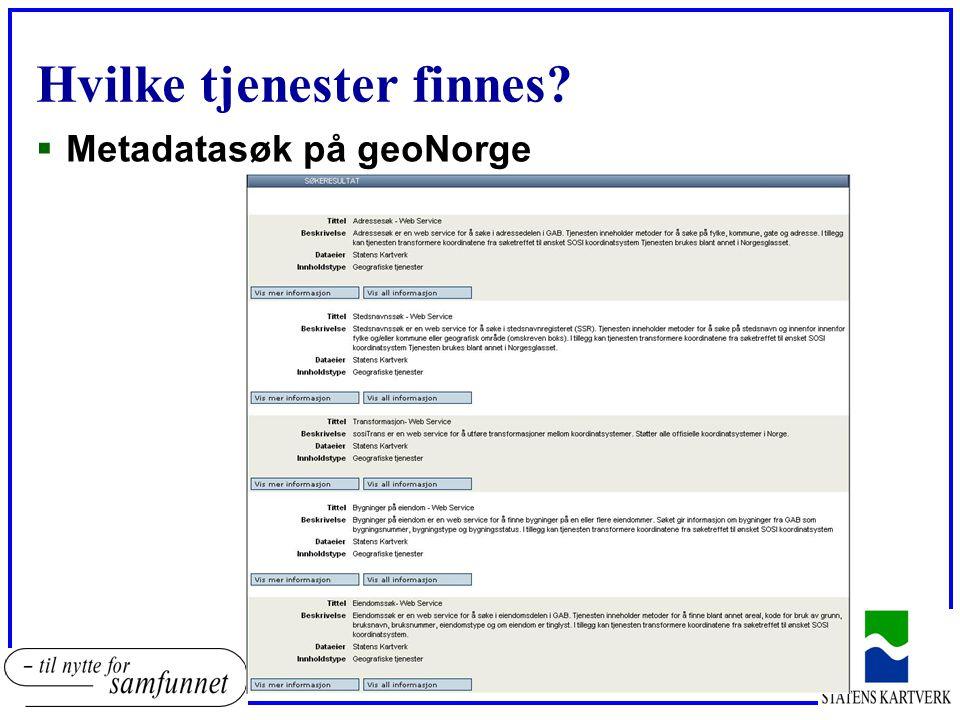 Hvilke tjenester finnes?  Metadatasøk på geoNorge