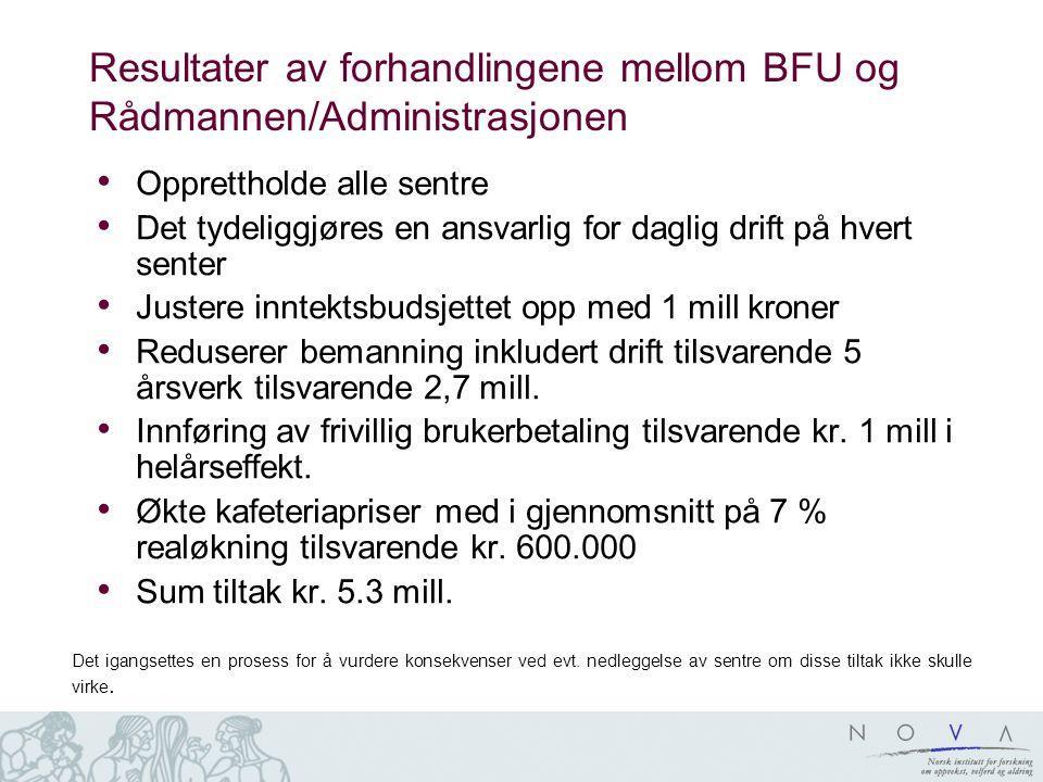 Resultater av forhandlingene mellom BFU og Rådmannen/Administrasjonen Opprettholde alle sentre Det tydeliggjøres en ansvarlig for daglig drift på hver