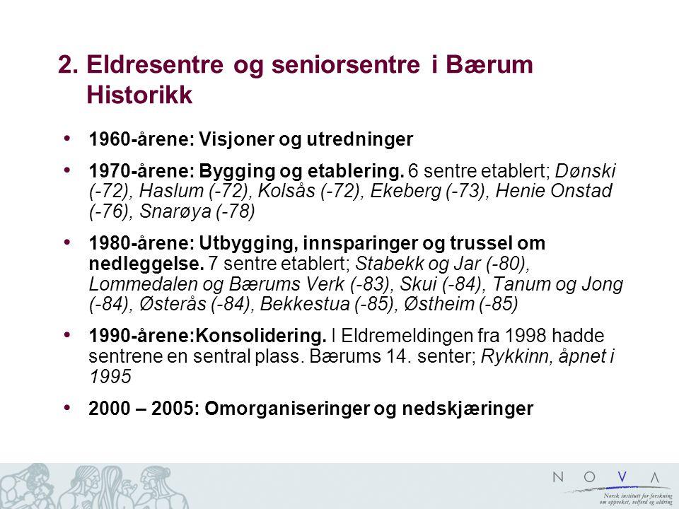 2. Eldresentre og seniorsentre i Bærum Historikk 1960-årene: Visjoner og utredninger 1970-årene: Bygging og etablering. 6 sentre etablert; Dønski (-72