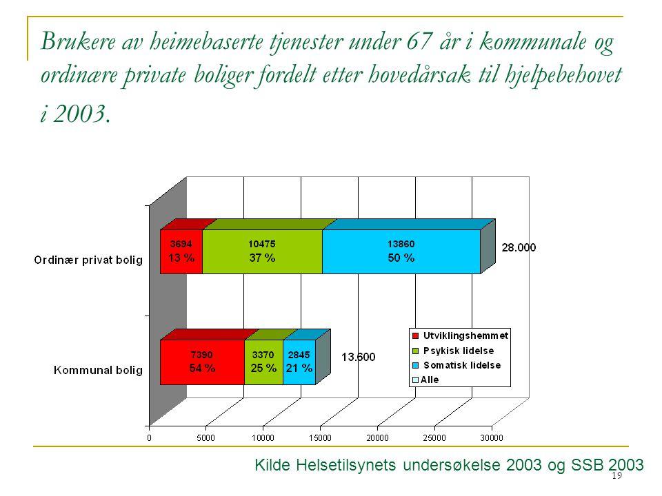 19 Brukere av heimebaserte tjenester under 67 år i kommunale og ordinære private boliger fordelt etter hovedårsak til hjelpebehovet i 2003.