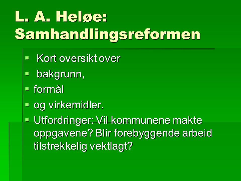 L. A. Heløe: Samhandlingsreformen  Kort oversikt over  bakgrunn,  formål  og virkemidler.  Utfordringer: Vil kommunene makte oppgavene? Blir fore