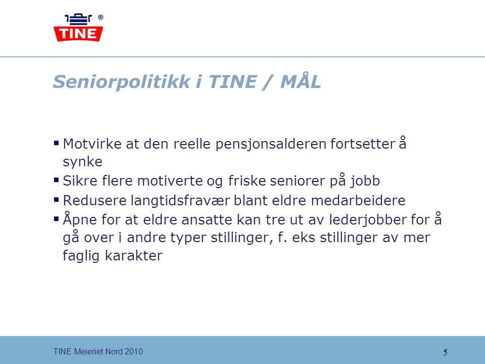 6 TINE Meieriet Nord 2010 Seniorpolitikk i TINE  TINEs SENIORPOLITIKK, TILTAK  Milepælsamtale  Kompetansetiltak  Helsetiltak  Fleksibilitet knyttet til arbeidstid