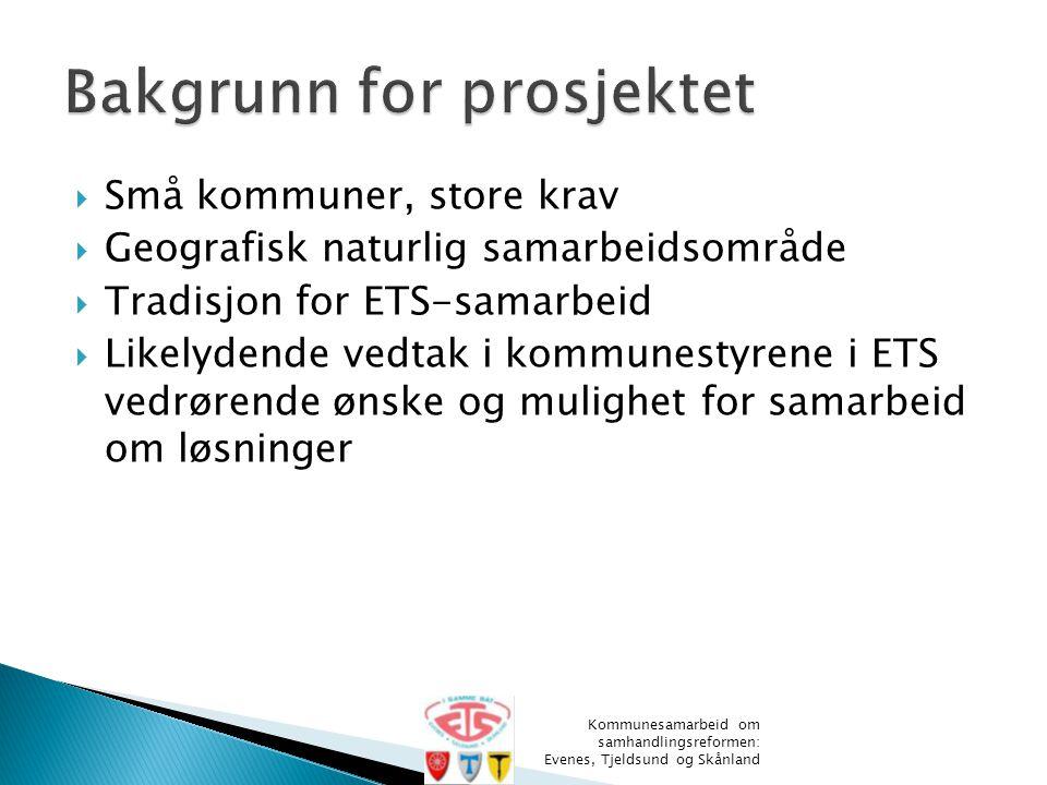  Små kommuner, store krav  Geografisk naturlig samarbeidsområde  Tradisjon for ETS-samarbeid  Likelydende vedtak i kommunestyrene i ETS vedrørende