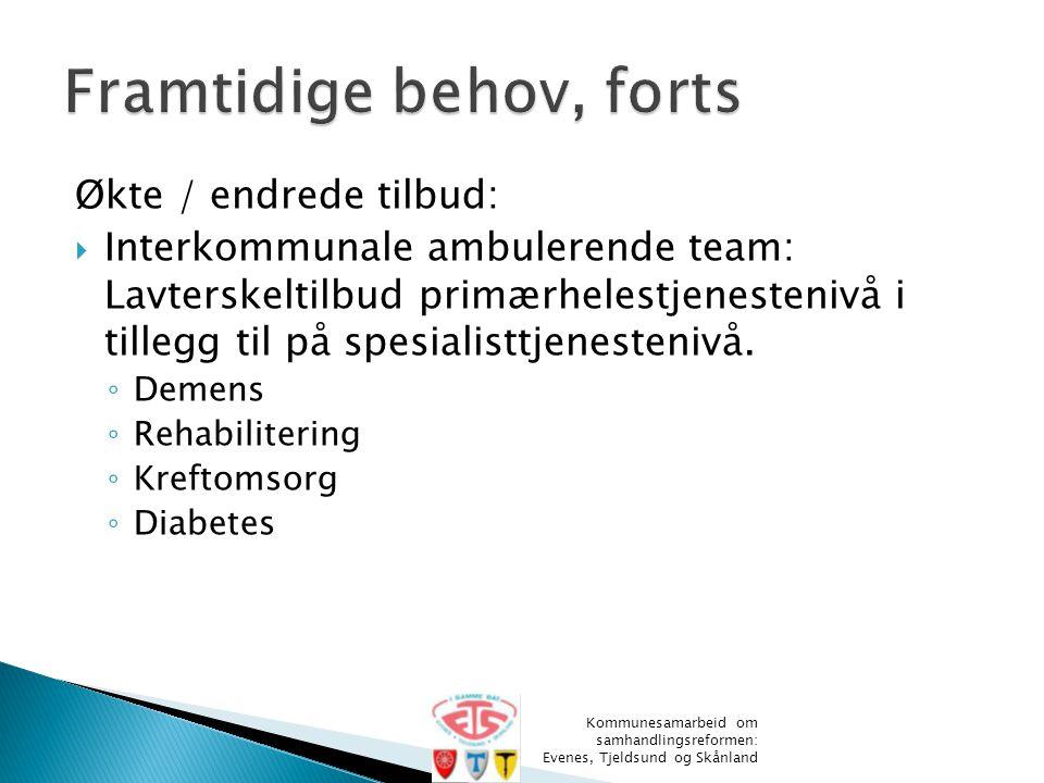 Økte / endrede tilbud:  Interkommunale ambulerende team: Lavterskeltilbud primærhelestjenestenivå i tillegg til på spesialisttjenestenivå. ◦ Demens ◦