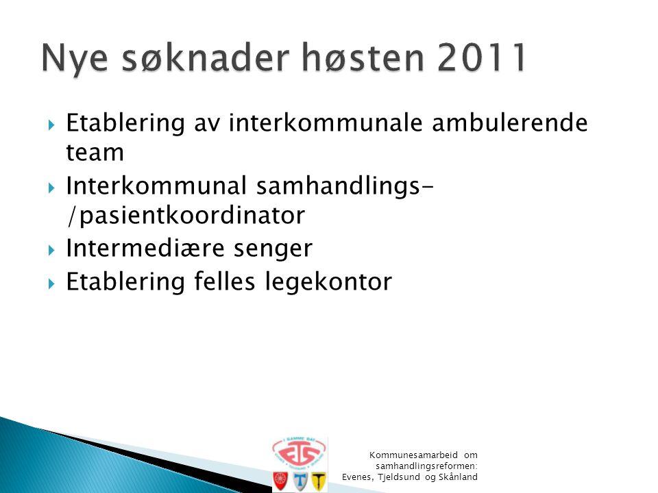  Etablering av interkommunale ambulerende team  Interkommunal samhandlings- /pasientkoordinator  Intermediære senger  Etablering felles legekontor