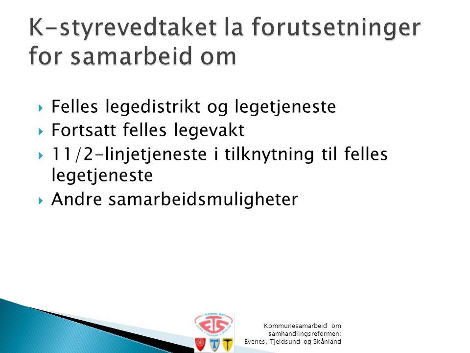 Skånland Kommunesamarbeid om samhandlingsreformen: Evenes, Tjeldsund og Skånland