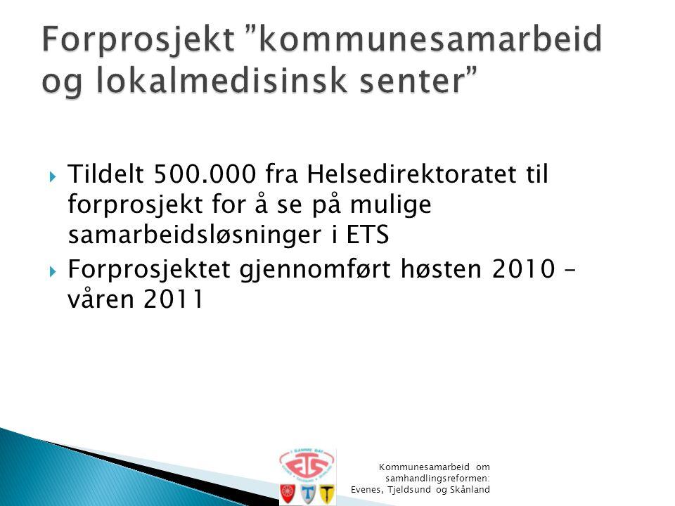  Tildelt 500.000 fra Helsedirektoratet til forprosjekt for å se på mulige samarbeidsløsninger i ETS  Forprosjektet gjennomført høsten 2010 – våren 2