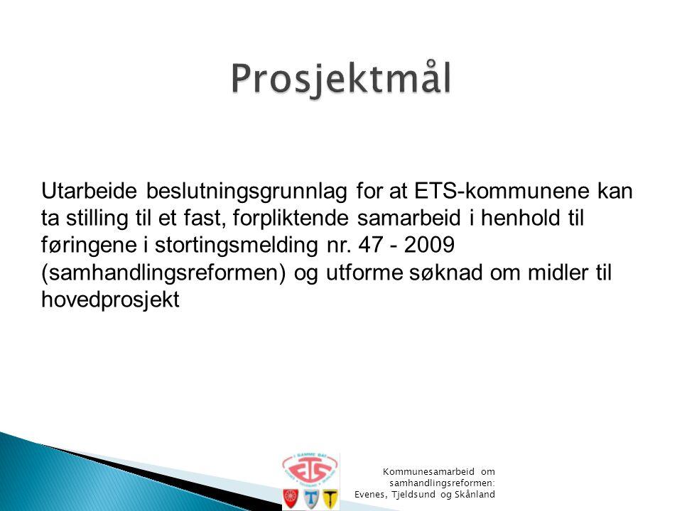 Utarbeide beslutningsgrunnlag for at ETS-kommunene kan ta stilling til et fast, forpliktende samarbeid i henhold til føringene i stortingsmelding nr.