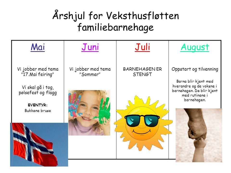 """Årshjul for Veksthusfløtten familiebarnehage Mai Vi jobber med tema """"17.Mai feiring"""" Vi skal gå i tog, pølsefest og flagg EVENTYR: Bukkene bruse Juni"""