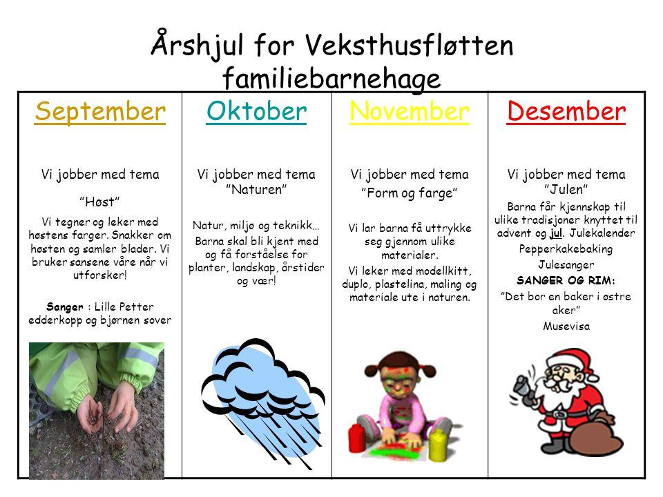 """Årshjul for Veksthusfløtten familiebarnehage September Vi jobber med tema """"Høst"""" Vi tegner og leker med høstens farger. Snakker om høsten og samler bl"""