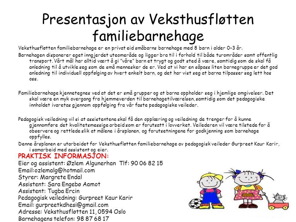 Presentasjon av Veksthusfløtten familiebarnehage Veksthusfløtten familiebarnehage er en privat eid småbarns barnehage med 8 barn i alder 0-3 år. Barne