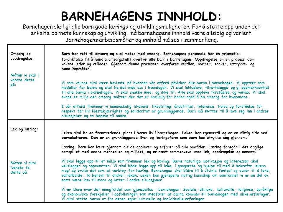 BARNEHAGENS INNHOLD: Barnehagen skal gi alle barn gode lærings og utviklingsmuligheter. For å støtte opp under det enkelte barnets kunnskap og utvikli