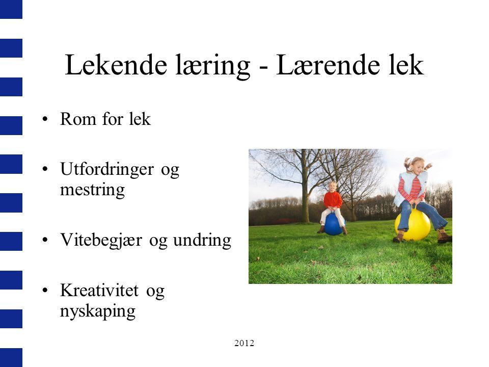 2012 Lekende læring - Lærende lek Rom for lek Utfordringer og mestring Vitebegjær og undring Kreativitet og nyskaping