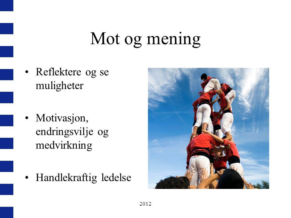 2012 Mot og mening Reflektere og se muligheter Motivasjon, endringsvilje og medvirkning Handlekraftig ledelse