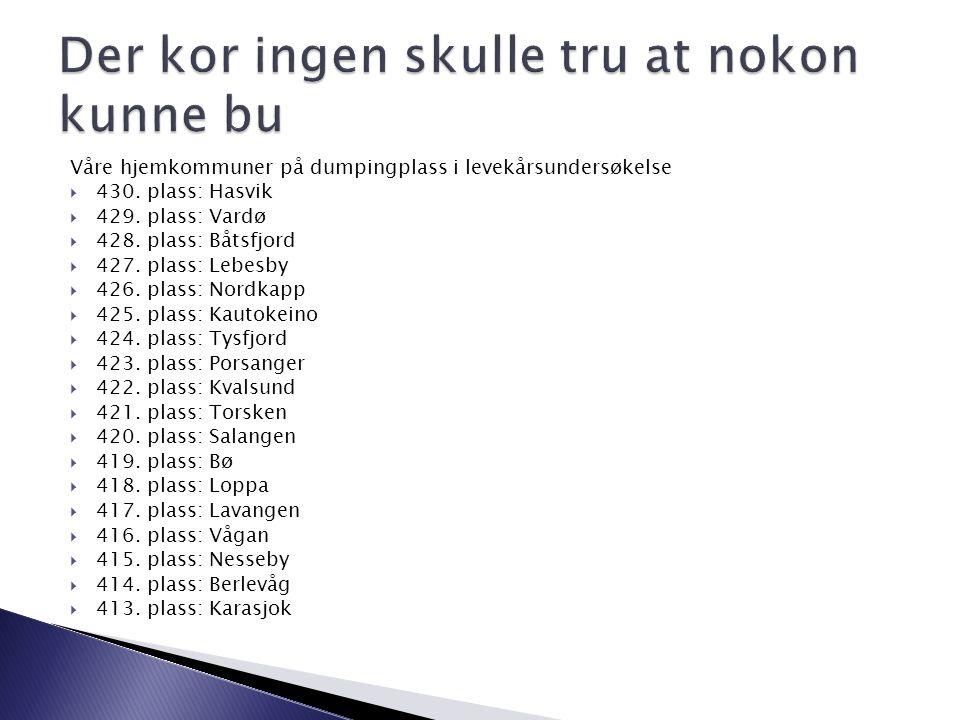 Våre hjemkommuner på dumpingplass i levekårsundersøkelse  430. plass: Hasvik  429. plass: Vardø  428. plass: Båtsfjord  427. plass: Lebesby  426.