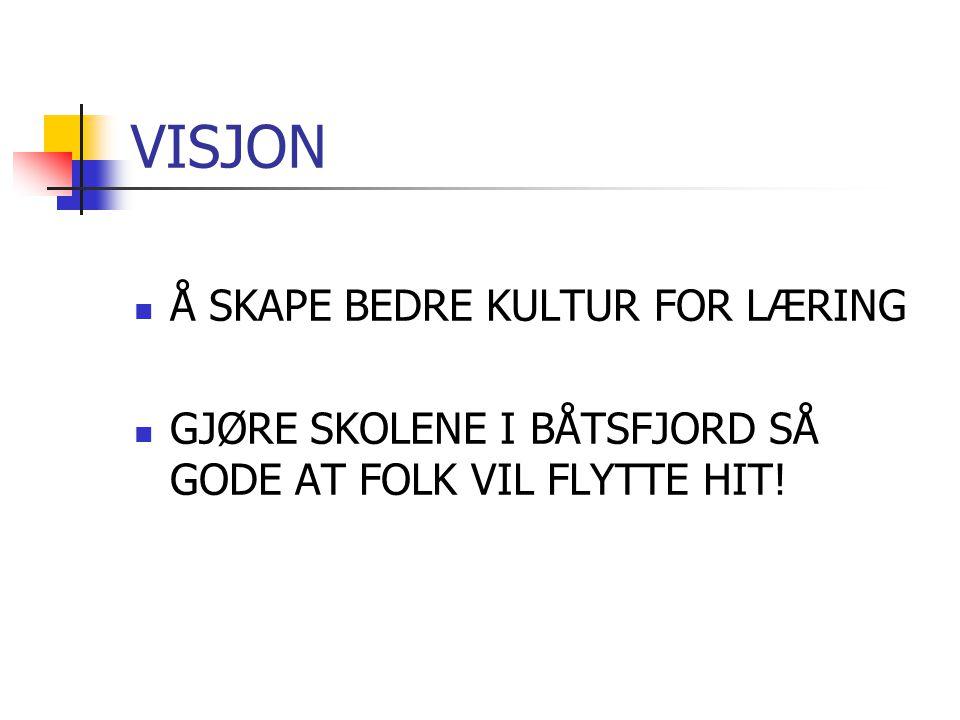 VISJON Å SKAPE BEDRE KULTUR FOR LÆRING GJØRE SKOLENE I BÅTSFJORD SÅ GODE AT FOLK VIL FLYTTE HIT!
