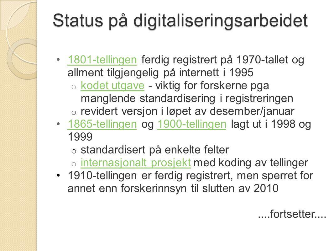 Status på digitaliseringsarbeidet 1801-tellingen ferdig registrert på 1970-tallet og allment tilgjengelig på internett i 19951801-tellingen o kodet ut