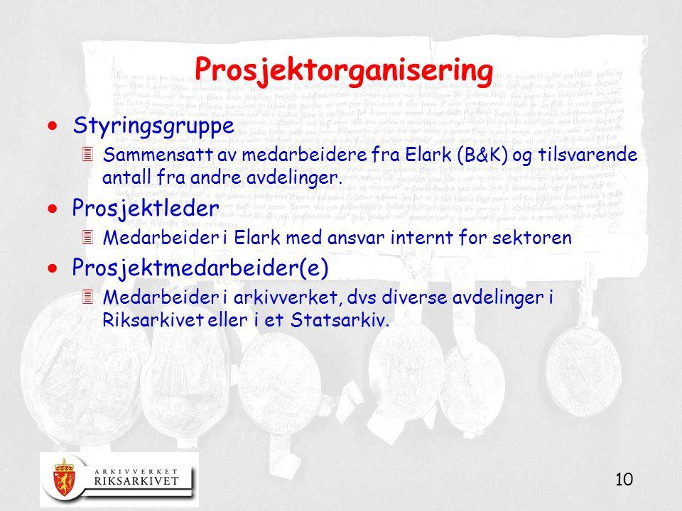 10 Prosjektorganisering  Styringsgruppe 3Sammensatt av medarbeidere fra Elark (B&K) og tilsvarende antall fra andre avdelinger.  Prosjektleder 3Meda