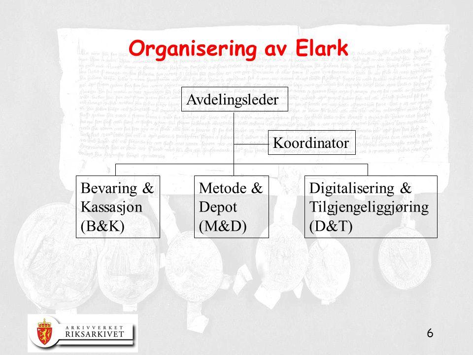 6 Organisering av Elark Avdelingsleder Koordinator Bevaring & Kassasjon (B&K) Metode & Depot (M&D) Digitalisering & Tilgjengeliggjøring (D&T)