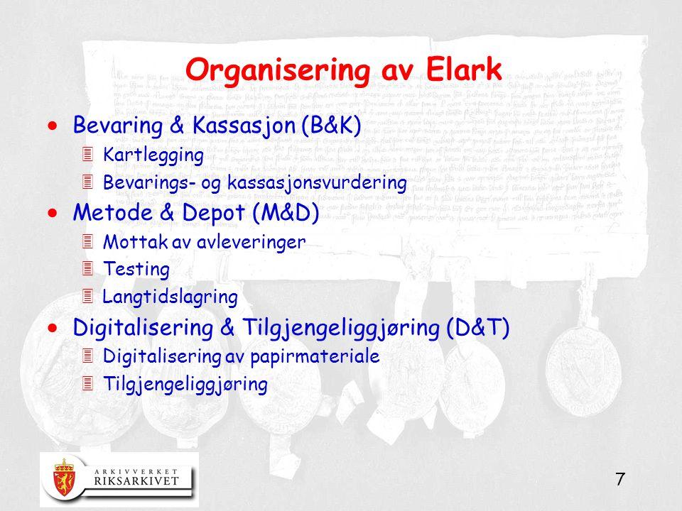 7 Organisering av Elark  Bevaring & Kassasjon (B&K) 3Kartlegging 3Bevarings- og kassasjonsvurdering  Metode & Depot (M&D) 3Mottak av avleveringer 3Testing 3Langtidslagring  Digitalisering & Tilgjengeliggjøring (D&T) 3Digitalisering av papirmateriale 3Tilgjengeliggjøring