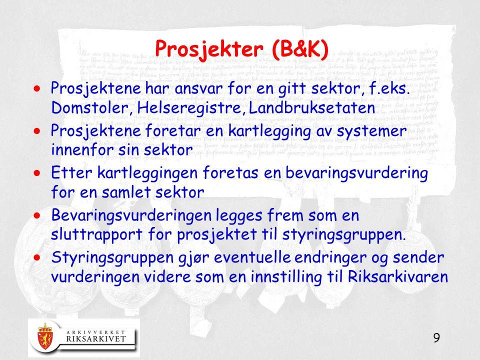 9 Prosjekter (B&K)  Prosjektene har ansvar for en gitt sektor, f.eks.