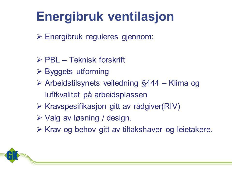 Energibruk ventilasjon  Energibruk reguleres gjennom:  PBL – Teknisk forskrift  Byggets utforming  Arbeidstilsynets veiledning §444 – Klima og luf