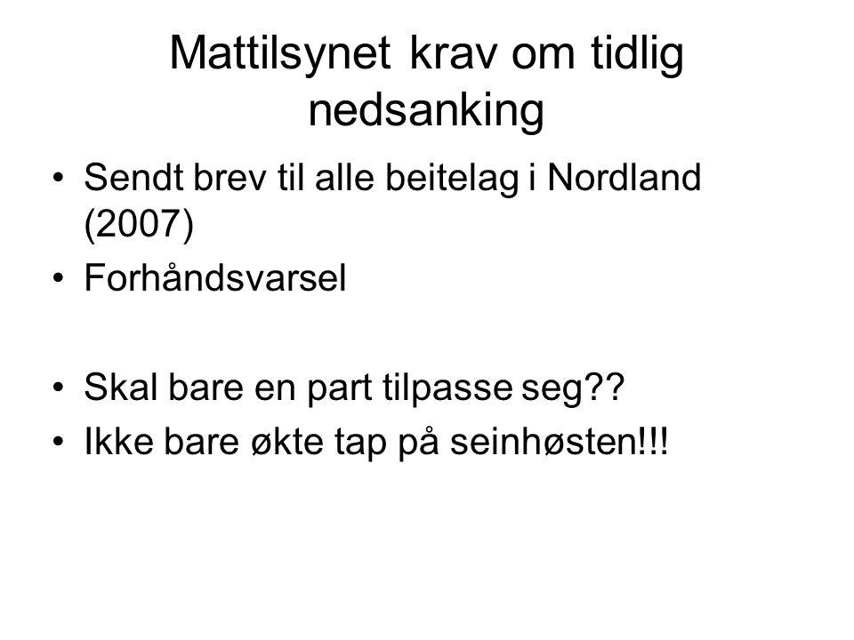 Mattilsynet krav om tidlig nedsanking Sendt brev til alle beitelag i Nordland (2007) Forhåndsvarsel Skal bare en part tilpasse seg .