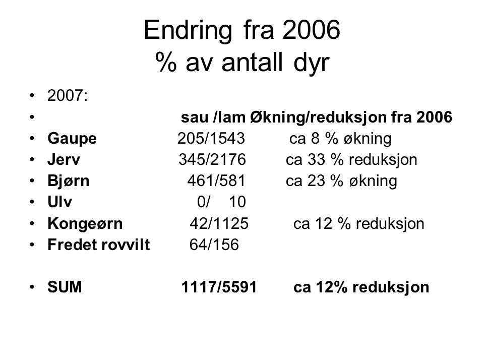 Endring fra 2006 % av antall dyr 2007: sau /lam Økning/reduksjon fra 2006 Gaupe 205/1543 ca 8 % økning Jerv 345/2176 ca 33 % reduksjon Bjørn 461/581 ca 23 % økning Ulv 0/ 10 Kongeørn 42/1125 ca 12 % reduksjon Fredet rovvilt 64/156 SUM 1117/5591 ca 12% reduksjon