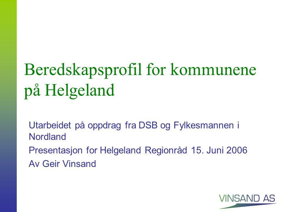 Beredskapsprofil for kommunene på Helgeland Utarbeidet på oppdrag fra DSB og Fylkesmannen i Nordland Presentasjon for Helgeland Regionråd 15.