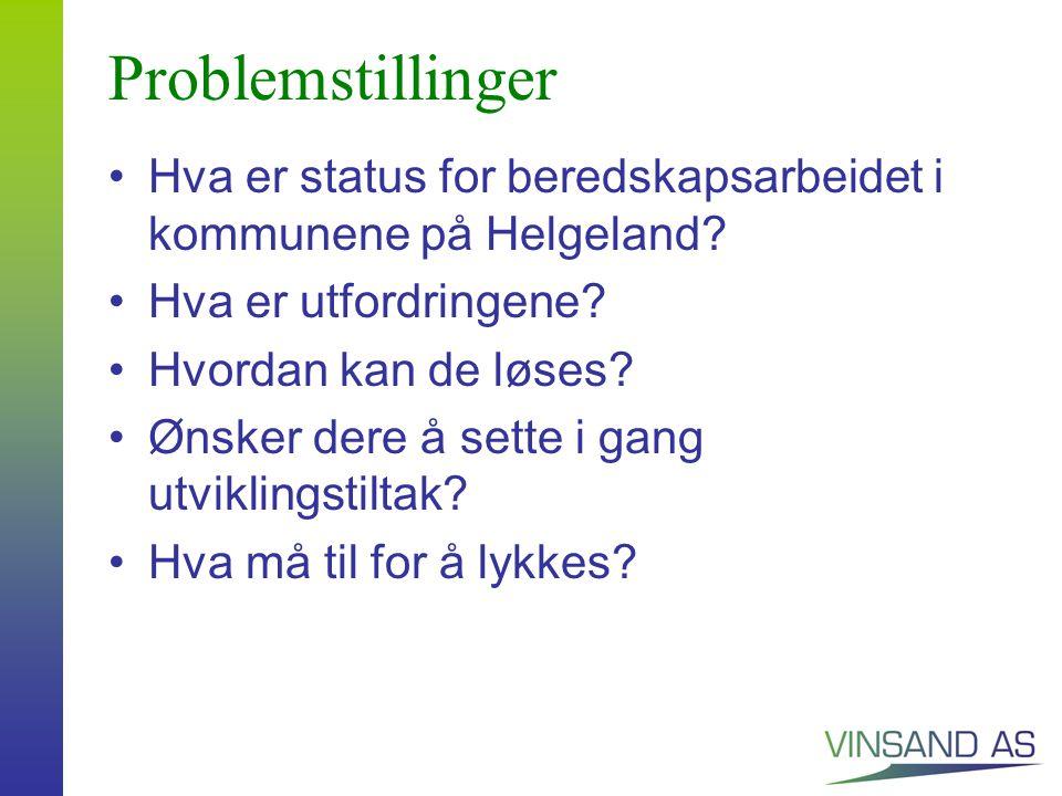Problemstillinger Hva er status for beredskapsarbeidet i kommunene på Helgeland.
