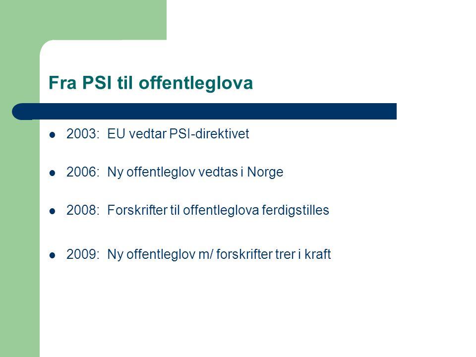Fra PSI til offentleglova 2003: EU vedtar PSI-direktivet 2006: Ny offentleglov vedtas i Norge 2008: Forskrifter til offentleglova ferdigstilles 2009: Ny offentleglov m/ forskrifter trer i kraft