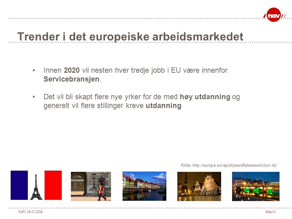 NAV, 18.07.2014Side 11 Trender i det europeiske arbeidsmarkedet Innen 2020 vil nesten hver tredje jobb i EU være innenfor Servicebransjen. Det vil bli