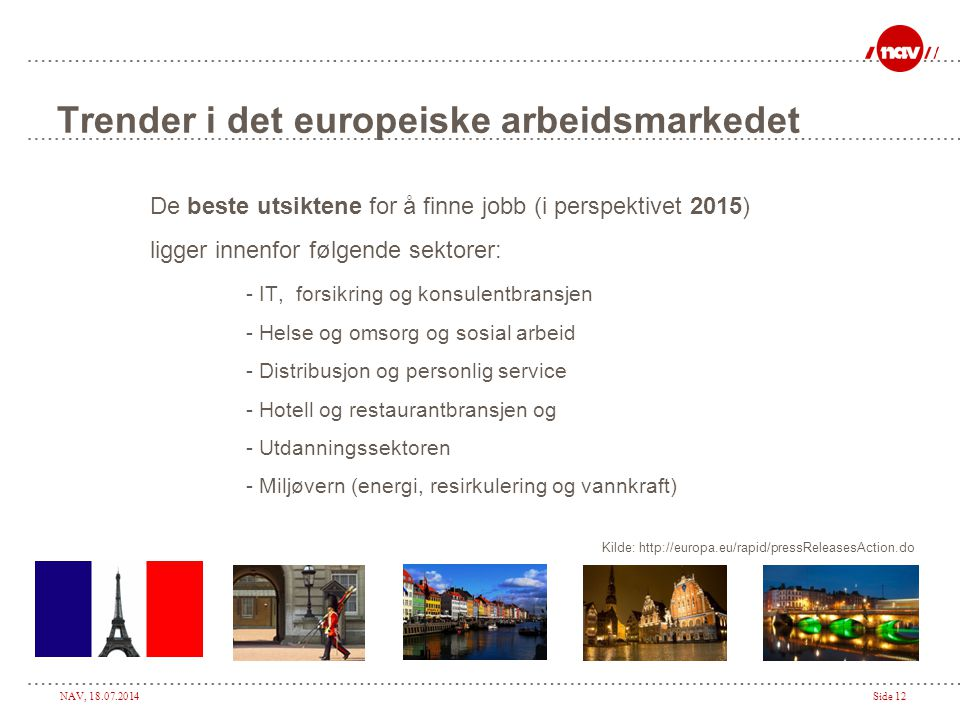 NAV, 18.07.2014Side 12 Trender i det europeiske arbeidsmarkedet De beste utsiktene for å finne jobb (i perspektivet 2015) ligger innenfor følgende sek