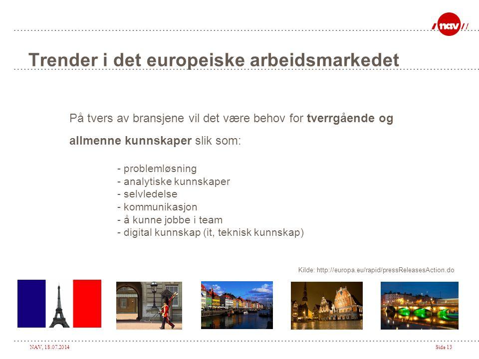 NAV, 18.07.2014Side 13 Trender i det europeiske arbeidsmarkedet På tvers av bransjene vil det være behov for tverrgående og allmenne kunnskaper slik s