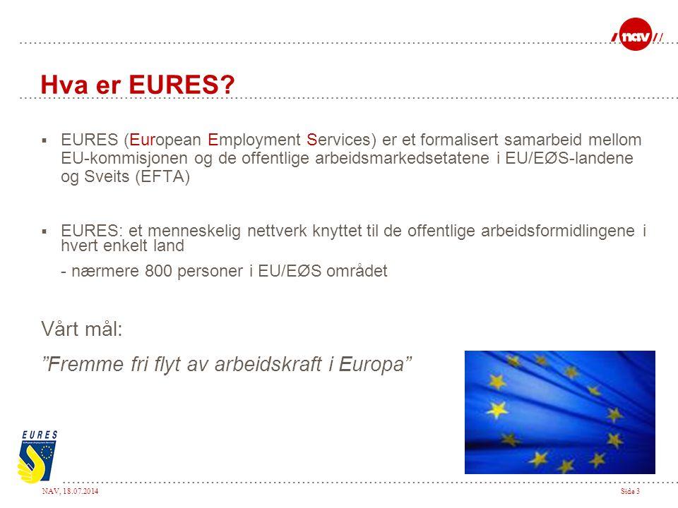 NAV, 18.07.2014Side 3 Hva er EURES?  EURES (European Employment Services) er et formalisert samarbeid mellom EU-kommisjonen og de offentlige arbeidsm