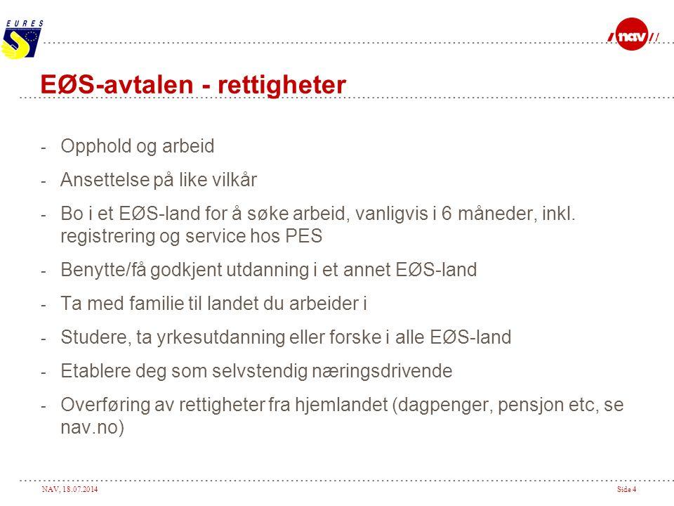 NAV, 18.07.2014Side 4 EØS-avtalen - rettigheter - Opphold og arbeid - Ansettelse på like vilkår - Bo i et EØS-land for å søke arbeid, vanligvis i 6 må