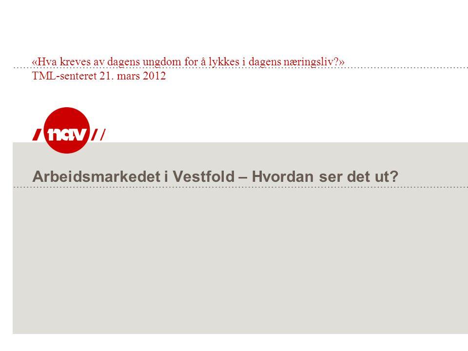 Arbeidsmarkedet i Vestfold – Hvordan ser det ut? «Hva kreves av dagens ungdom for å lykkes i dagens næringsliv?» TML-senteret 21. mars 2012